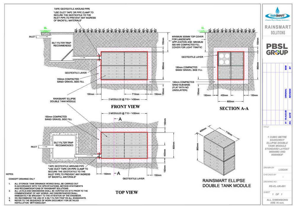 Rainsmart Ellipse Soakaway Set Flat-Packed 1 Cubic Metre - OUT OF STOCK