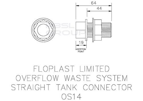Overflow Straight Tank Connector - 21.5mm White