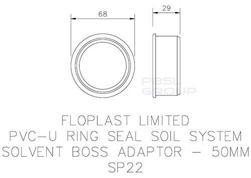 Solvent Weld Soil Boss Adaptor - 50mm Grey