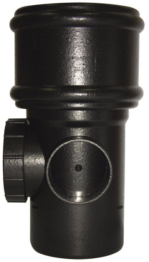 Ring Seal Soil Access Pipe Single Socket - 110mm Cast Iron Effect