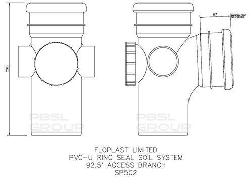 Ring Seal Soil Access Branch - 92.5 Degree x 110mm Grey