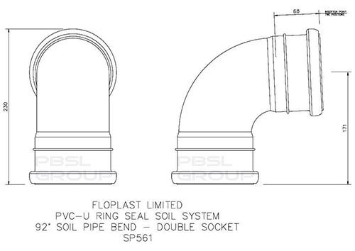 Ring Seal Soil Bend Double Socket - 92.5 Degree x 110mm Black