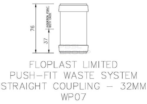 Push Fit Waste Coupling - 32mm Grey