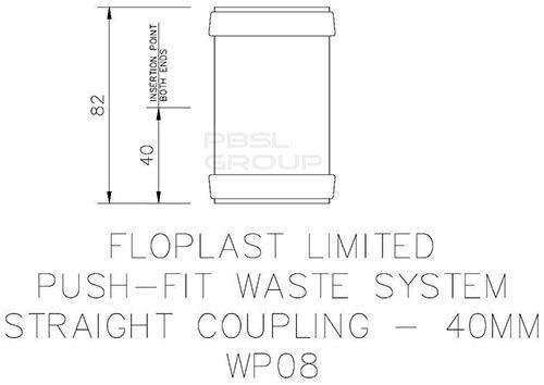 Push Fit Waste Coupling - 40mm Black