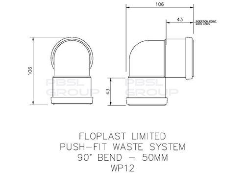 Push Fit Waste Bend Knuckle - 90 Degree x 50mm Grey
