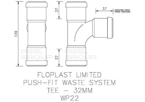 Push Fit Waste Tee - 32mm Black