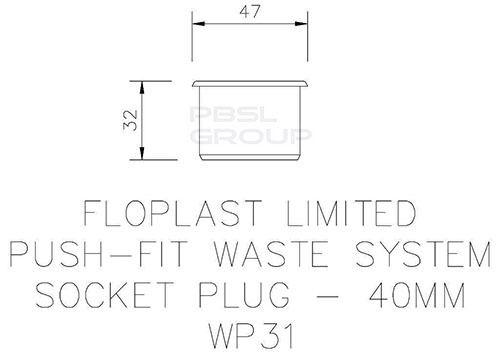 Push Fit Waste Socket Plug - 40mm Black