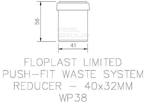 Push Fit Waste Reducer - 40mm x 32mm Grey
