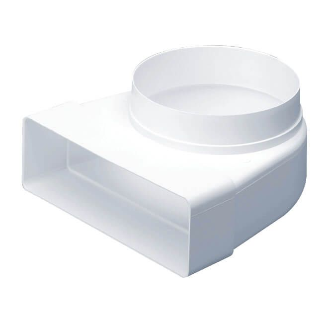 Supertube Rectangular Ventilation Duct Elbow With 125mm Spigot - 204mm x 60mm