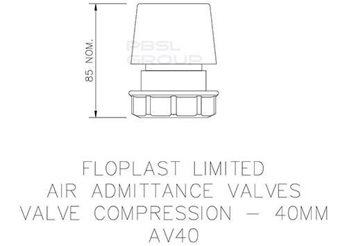 Air Admittance Valve for Universal Waste Pipe - 40mm White