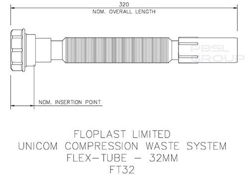 Flexible Wast Connector - 32mm White