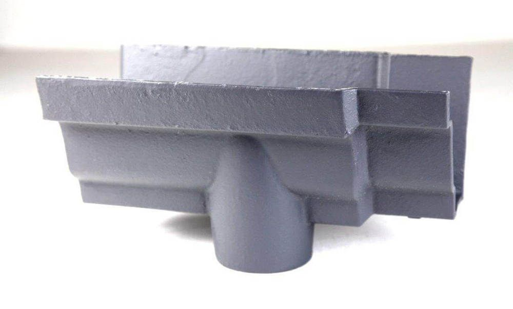 Cast Iron Moulded Ogee Gutter Running Outlet - 100mm for 65mm Downpipe Primed