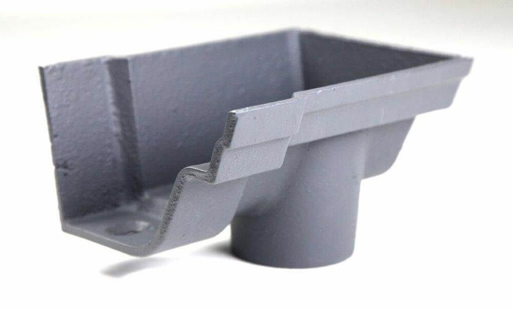 Cast Iron Notts Ogee Gutter Right Hand Stopend Outlet - 115mm for 65mm Downpipe Primed