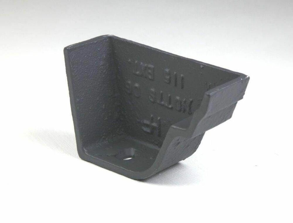 Cast Iron Notts Ogee Gutter Right Hand Stopend - 115mm Primed