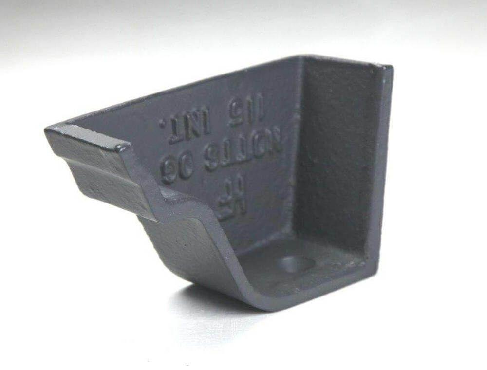 Cast Iron Notts Ogee Gutter Left Hand Stopend - 115mm Primed