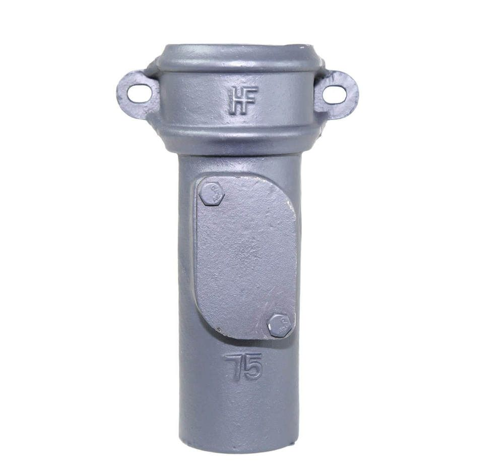 Cast Iron Round Downpipe Eared Access Pipe - 75mm Primed