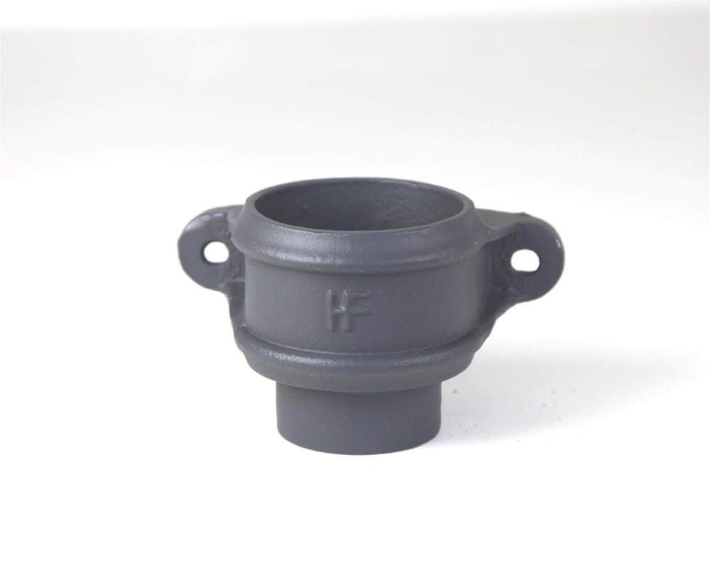 Cast Iron Round Downpipe Eared Loose Socket with Spigot - 100mm Primed