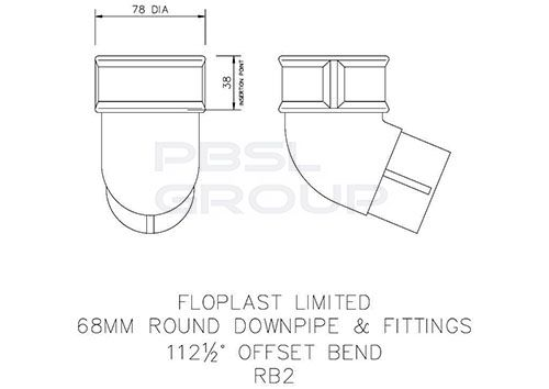 Round Downpipe Offset Bend - 112.5 Degree x 68mm Black