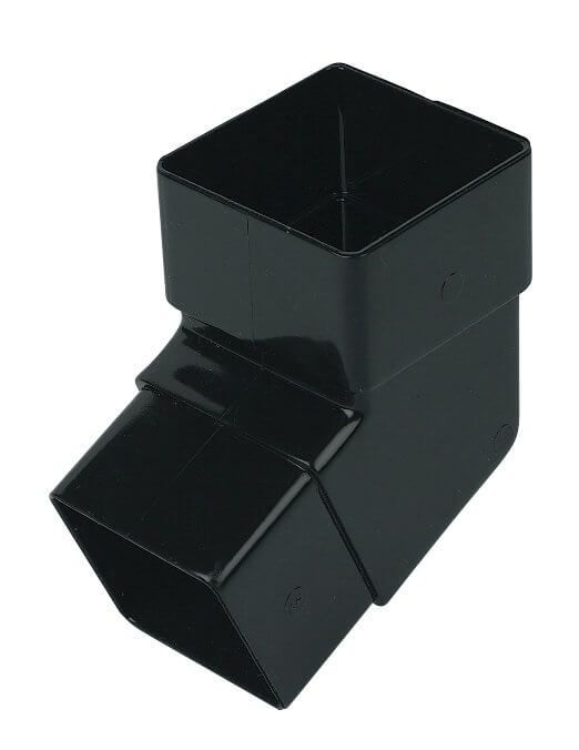 Square Downpipe Offset Bend - 112 Degree Black