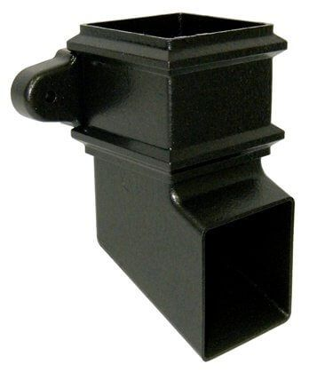 Square Downpipe Shoe with Fixing Lugs - 65mm Cast Iron Effect