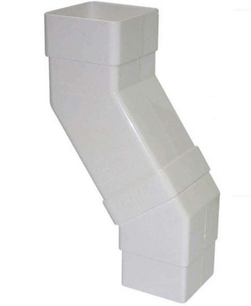 Square Downpipe Adjustable Offset Bend - 65mm White