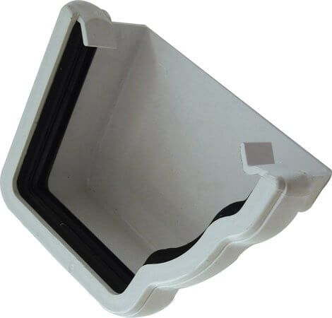 Ogee Gutter External Stopend Right Hand - 110mm x 80mm White - OUT OF STOCK