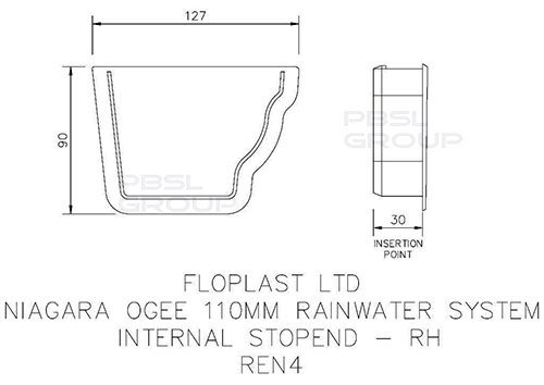 Ogee Gutter Internal Stopend Right Hand - 110mm x 80mm White - OUT OF STOCK