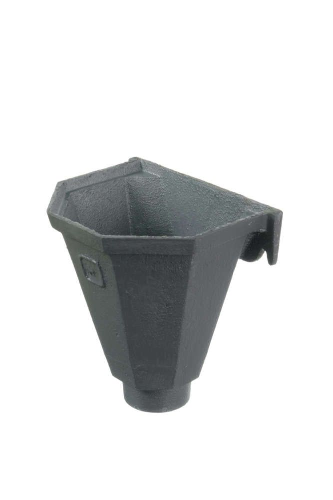 Cast Iron Round Downpipe Hopper Head Flat Back Outlet - 65mm Primed - OUT OF STOCK