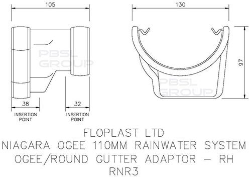 PVC Half Round to PVC Ogee Right Hand Gutter Adaptor - White