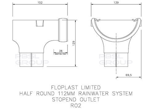 Half Round Gutter Stopend Outlet - 112mm Grey