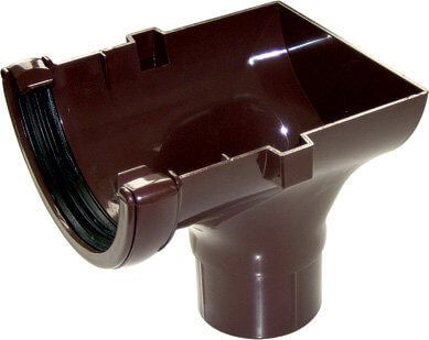 Mini Gutter Stopend Outlet - 76mm Brown