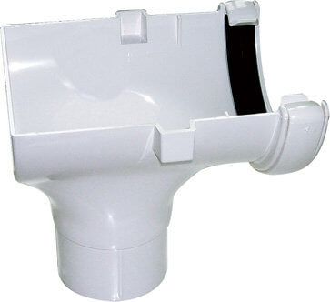 Mini Gutter Stopend Outlet - 76mm White