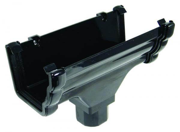 Ogee Gutter Running Outlet - 110mm x 80mm Black