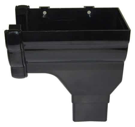 Ogee Gutter Stopend Outlet Right Hand - 110mm x 80mm Black