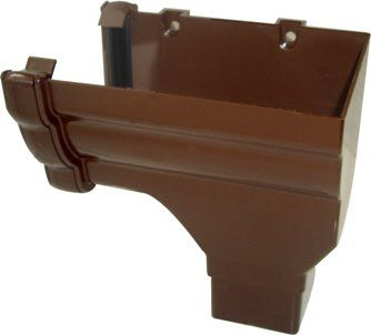 Ogee Gutter Stopend Outlet Right Hand - 110mm x 80mm Brown