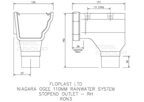 Ogee Gutter Stopend Outlet Right Hand - 110mm x 80mm Cast Iron Effect