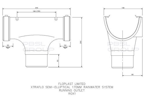 Industrial/ Xtraflo Gutter Running Outlet - for 110mm Downpipe 170mm White