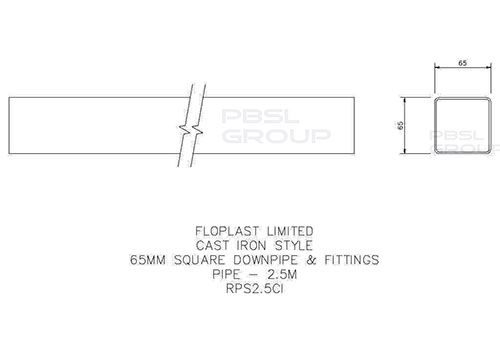 Square Downpipe - 65mm x 2.5mtr Cast Iron Effect - OUT OF STOCK