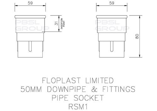Mini Gutter Downpipe Socket - 50mm Black