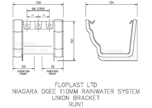 Ogee Gutter Union Bracket - 110mm x 80mm Cast Iron Effect - OUT OF STOCK