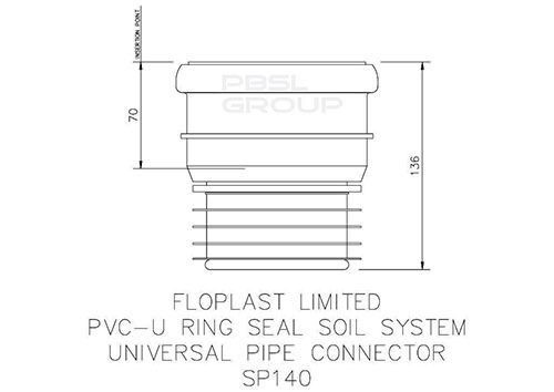 Universal Adaptor - Ring Seal Soil PVC Pipe to Cast Iron Or Clay Drainage - Grey