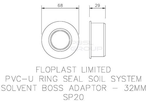 Solvent Weld Soil Boss Adaptor - 32mm Black