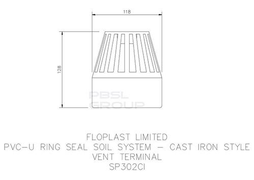 Ring Seal Soil Vent Terminal - 110mm Cast Iron Effect