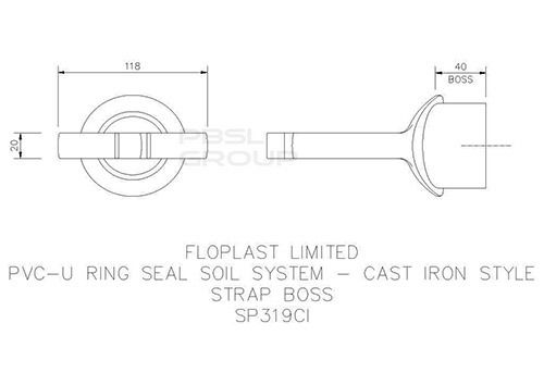 Solvent Weld Soil Strap Boss - 110mm Cast Iron Effect