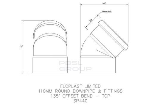 Solvent Weld Offset Bend Top - 110mm White