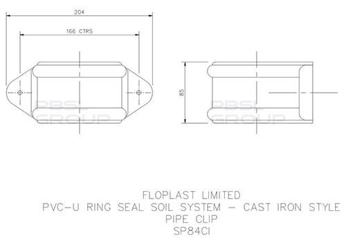 Ring Seal Soil Pipe Clip - 110mm Cast Iron Effect
