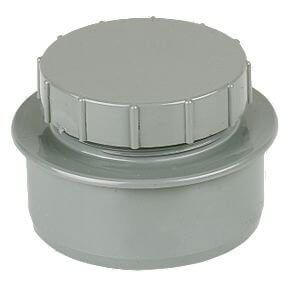 Solvent Weld Soil Screwed Access Cap - 110mm Olive Grey
