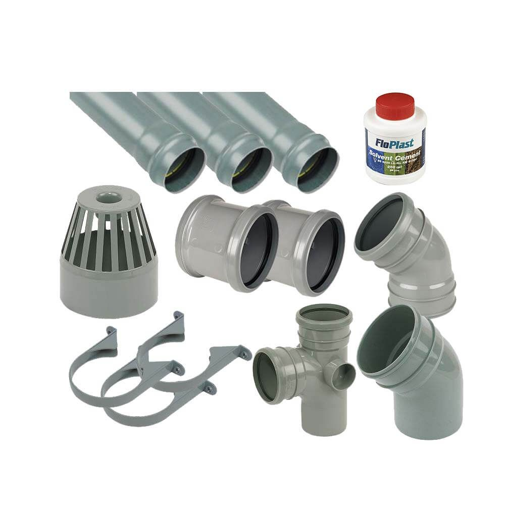 Ring Seal Soil Stack Complete Kit - With Offsets - 110mm Grey