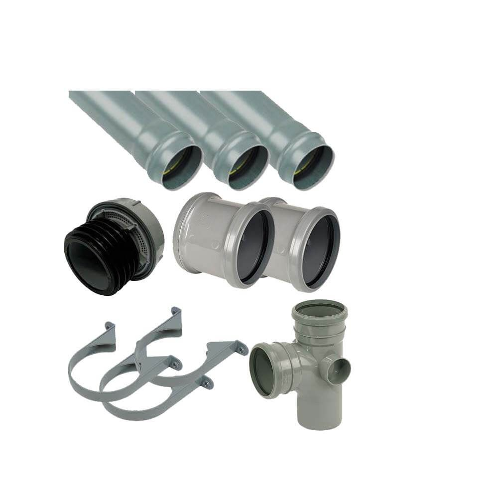Ring Seal Soil Stack Complete Kit - With External Air Valve - 110mm Grey