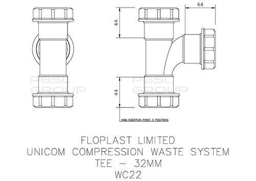Multi Fit Compression Waste Tee - 32mm